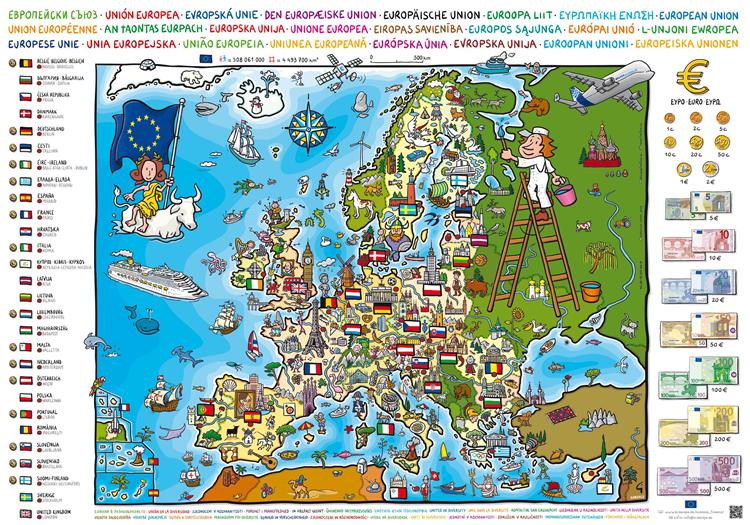 Stereotype Europakarte finanziert mit Mitteln der EU